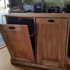 Wood Trash Can, Recycling Bin, Storage Bin, Solid Pine Garbage Can