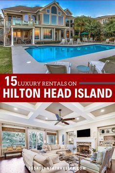 """If you're heading to the white sandy beaches of South Carolina on a family vacation, then check out these luxurious Hilton Head Rentals that include vacation home options. These are perfect luxe vacation home and villa rentals on Hilton Head Island,SC that the rich and famous rush toward (there is even a listing here that was a perfect vacation for a former President and his wife) … but if you bring the extended family or a few family friends, they can be affordable for even us """"regular folk."""" Top Family Vacations, Family Travel, South Carolina Vacation, Hotel Stay, Hilton Head Island, United States Travel, Usa Travel, Vacation Ideas, Cool Places To Visit"""