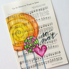 Hand Painted Vintage Hymn Page Tis so Sweet to by GrowingMeadows hymnal hymn art painting