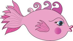 Fish Cartoon Clip Art | Free Clip Art Picture of a Pink Girl Fish with Kissing Lips and Curled ...