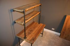 Shelving Unit - Industrial and Modern Reclaimed Wooden Computer Desk w/Storage Shelves Raw (naked) - Free Shipping & Life Time Warranty! on Etsy, $879.99