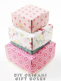 DIY Origami Gift Boxes -- cute handmade boxes for a gift that's hard to wrap!