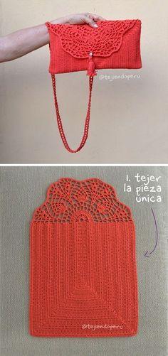 Handbag Crochet Pattern Tutorial # crochet handbags Pretty Lace Crochet Handbag With Pattern Crochet Clutch Bags, Crochet Tote, Crochet Handbags, Crochet Purses, Crochet Crafts, Easy Crochet, Free Crochet, Knit Crochet, Tutorial Crochet