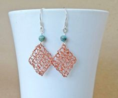 Crochet copper wire earrings.Sterling silver ear wires. by ByDrora, $25.00