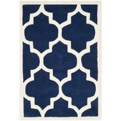 Safavieh Chatham x Rectangle Wool Hand Tufted Geometric Area Rug Dark Blue / Ivory Home Decor Rugs Area Rugs Moroccan Area Rug, Modern Moroccan, Blue Ivory, Dark Blue, Wool Carpet, Wool Area Rugs, Wool Rugs, Quatrefoil, Accent Rugs