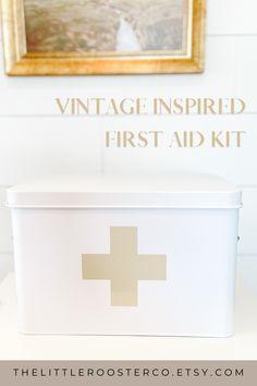 Metal First Aid Kit Box, Vintage Style, Modern Farmhouse, Medicine Cabinet Storage, Bathroom Organization, Nursing Gift, Med School First Aid Kit Box, Etsy Business, Etsy Crafts, Nurse Gifts, Kids Decor, Box Design, Etsy Jewelry, Etsy Handmade, Vintage Inspired