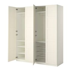 IKEA PAX Wardrobe White/bergsbo white 200 x 60 x 236 cm 10 year guarantee. Read about the terms in the guarantee brochure. Tall Cabinet Storage, Locker Storage, Armoire Ikea, Door Dividers, Pax System, Soft Closing Hinges, Ikea Usa, Plastic Shelves, Basket Shelves