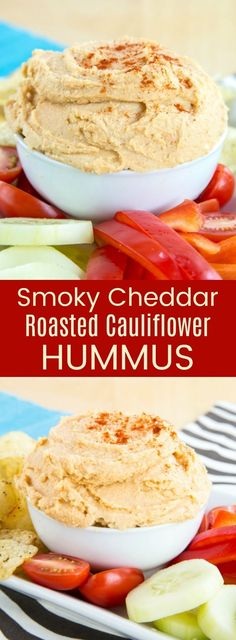Smoky Cheddar Roasted Cauliflower Hummus recipe is a smooth and creamy healthy dip with hidden veggies, plus the cheesy flavor kids love. Serve with vegetables, chips, or pita for an appetizer or snack that's gluten free and vegetarian recipe. Cauliflower Hummus, Roasted Cauliflower, Cauliflower Recipes, Healthy Dips, Healthy Eating Recipes, Vegetarian Recipes, Dinner Healthy, Vegetarian Cooking, Finger Food Appetizers