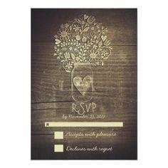 Mason Jar Wedding Invitations Country rustic floral mason jar wedding RSVP Card