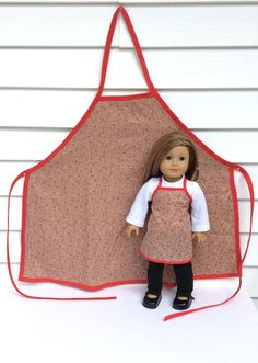 Matching Gingerbread Man Aprons for 18 Inch Doll and Her Girl, Christmas Aprons, 18 Inch Doll Clothes
