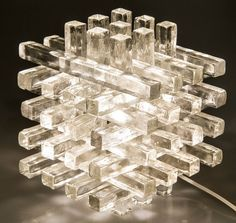 Sculptural Poliarte Glass Cube Lamp   From a unique collection of antique and modern table lamps at https://www.1stdibs.com/furniture/lighting/table-lamps/