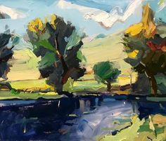 """Nothing like the late afternoon when the light flows over the land like golden honey... """"Yarra Valley Autumn"""", 61X75cm. #artoftheday #colour #painting #artgallery"""