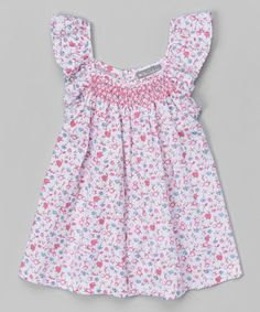 Look what I found on #zulily! Pink Floral Smocked Angel-Sleeve Dress - Infant & Toddler #zulilyfinds