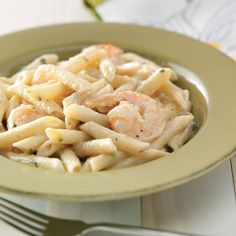"Shrimp Penne with Garlic Sauce for Two Recipe -""My friends and family request this all the time. It's quick and smells so good."" Best of all, it's a breeze to downsize for two! Christy Martell - Round Hill, Virginia"