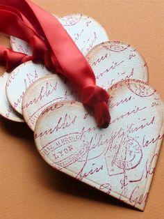vintage style stamped heart tags idea