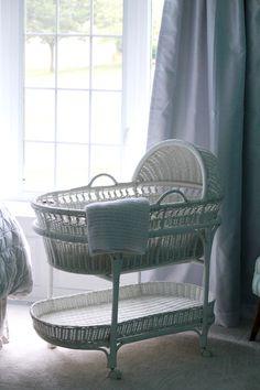 pottery barn white bassinet for master bedroom