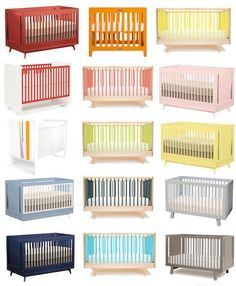 Keep it colorful: cribs in every color of the rainbow.