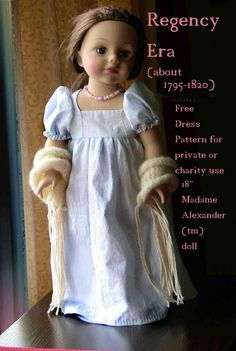 Free pattern for regency dress for 18 inch dolls