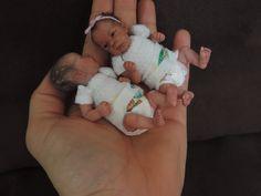 "Miniature Doll Art |ooak 4"" Sheila Mrofka Babies"