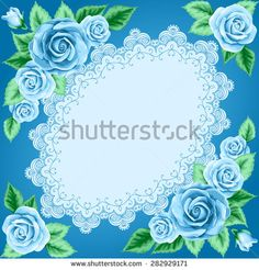 Vintage frame with roses and lace frame. Place for your text. Invitation, greeting card template - stock vector