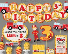 Firetruck Birthday Party - Invitation, Decoration, Banner, Favors, Firefighter www.etsy.com/listing/206740768/firetruck-birthday-party-invitation