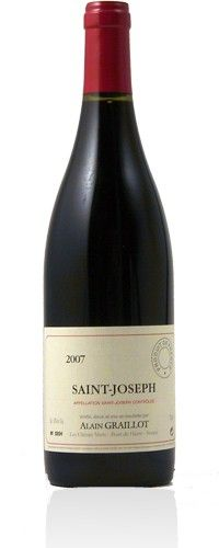Alain Graillot Saint-Joseph Rouge 2008 : This wine possesses some sweet and sour cheery notes followed by complex minerality and floral component. The acid is well integrated and the tannins are firm and ripe,presenting a wine that is both elegant and polished. $58.50 Organic Wine, Saint Joseph, French Wine, Wine Label, Wine Making, Wine Cellar, Notes, Elegant, Bottle
