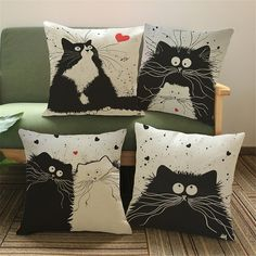Sew Cushions Adorable Cartoon Cute Cat Pillow Cover Linen Decorative Home decor sofa pillow case - For the cat lovers! You'll fall in love with these adorable, cute cat pillow covers. Throw Pillow Cases, Throw Pillows, Cover Pillow, Floor Pillows, Owl Pillows, Burlap Pillows, Sofa Throw, Cat Quilt, Cat Pillow