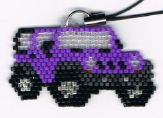 Hand Beaded Purple Jeep cell phone charm by beadfairy1 on Etsy