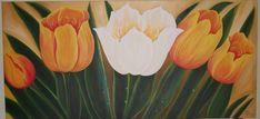 Tulipas Brancas e Laranjas Plants, White Tulips, Orange, Tejidos, Block Prints, Flowers, Plant, Planets