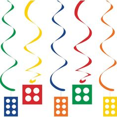 Legos BLOCK PARTY DANGLERS Hanging Swirls Birthday Party Supplies Decoration