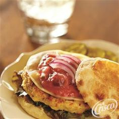 Chicken Bacon Burgers with Cherry-Chive Mayonnaise from Crisco®