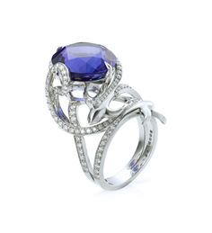 """ SWALLOW TANZANITE RING TANZANITE AND DIAMONDS IN PLATINUM  16.40ct tanzanite and round-brilliant cut diamonds in platinum by Boodles.com http://www.boodles.com/swallow-tanzanite-ring-20.html# """