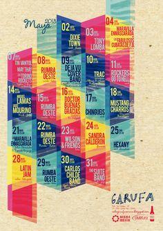 by vanessa liste graphic design posters for concerts, live music programming, garufa coruña conciertos