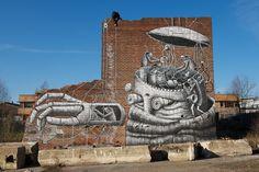 Large Black and White murals of graffiti artist Phlegm