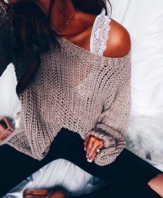 lace bralettes + knit sweaters Beautiful lace bralette outfit. seductive lingerie