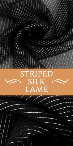 Black Silk Lamé with Metallic Silver Stripe