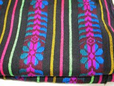 Black Striped with colorful flowers Fabric 31 by joselinicrafts, $10.00