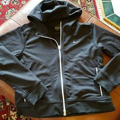 Nike Sphere Hoodie Textured black with crisp white zippers and swoosh. Two side zip pockets. Super cute fit. Cozy hood. Pre loved. Good used condition. Nike Sphere Tops Sweatshirts & Hoodies
