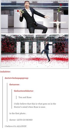 """David Tennant dancing amid rose petals Ad / Doctor Who [gifset] - """"I fully believe that this is what goes on in the Doctor's mind when Rose is near."""""""