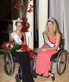 Ms. Wheelchair America 2010 and Ms. Wheelchair America 2009 smile at the camera…