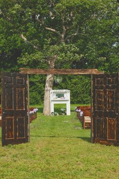 Obviously we& not having an outdoor wedding in February, but if we were, this is SO picturesque. Love the doors, chandelier and mantle. Outside Wedding, Wedding Ceremony, Our Wedding, Dream Wedding, Wedding Stuff, Wedding Altars, Wedding Mantle, Rustic Wedding, Wedding Doors