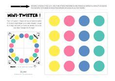 Vous connaissez le Twister, ce célèbre jeu qui consiste à poser mains et pieds sur les ronds de couleurs d'un tapis ? Voici la version mini Twister pour les doigts ! Même principe sauf qu'on joue avec 4, 5, 8 ou même 10 doigts ! Le Twister à doigts à imprimer, en voilà une curieuse idée, mais l'air de rien, l'enfant s'amuse et apprend le nom des doigts tout en travaillant sa motricité fine. Social Work Activities, Motor Skills Activities, Fine Motor Skills, Activities For Kids, Educational Activities, Diy Crafts For Kids Easy, Fun Crafts, Diy And Crafts, Drinking Games