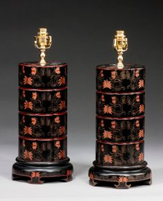 Unusual Pair of Stepped Lamps.