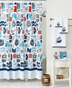 Kassatex Bath Accessories, Pirates Shower Curtain