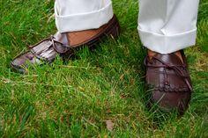 "Stone Lands"" End twill trousers, Eden OTC Brown socks, Allen Edmonds Kiltie loafers with braided bows."