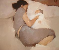 """Mother and Child"" - Nguyen Thanh Binh {contemporary artist figurative female reclining woman posterior back painting} Maternal ! Figure Painting, Painting & Drawing, Illustrations, Illustration Art, Kunst Online, Foto Baby, Figurative Art, Love Art, Painting Inspiration"
