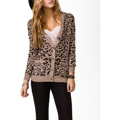 FOREVER 21 Leopard Print Cardigan ($25) ❤ liked on Polyvore