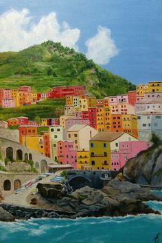 Original Cities Painting by Alina Obraztsova Oil Painting On Canvas, Canvas Art, Original Paintings, Original Art, Sea Colour, Impressionism Art, Italy Architecture, Landscape Architecture, City Landscape
