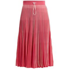 Valentino High-rise pleated jersey midi skirt (7,220 PEN) ❤ liked on Polyvore featuring skirts, red midi skirt, red skirt, jersey midi skirt, sport jerseys and midi skirts