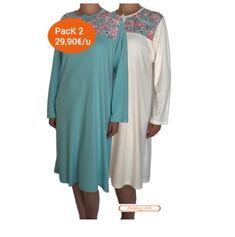 1b39b824ba Camisón adaptado de mujer color turquesa con flores y marfil. Camisón para  mujeres mayores o